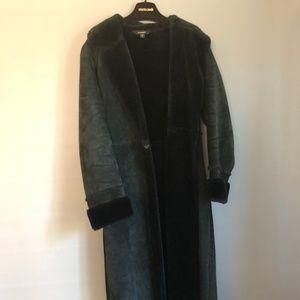 Express Black Leather Long Coat
